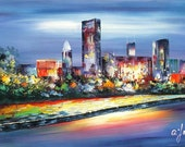 """Goldy Young -CHICAGO SKYLINE BLUE Day 24""""x 36"""""""