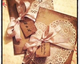 Vintage aged heart shaped doily invitation - wedding invitation