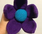 Alana - Giant Crochet Flower with a delightful blue centre surrounded by rich purple petals with latte stem