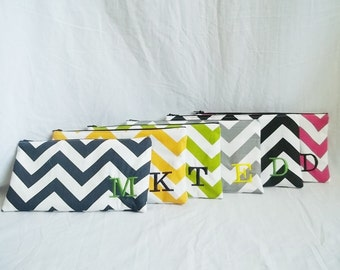 Set of 6 - Bridesmaid clutches - Personalized Chevron Pouch with initials - Embroidered Makeup bag - Large