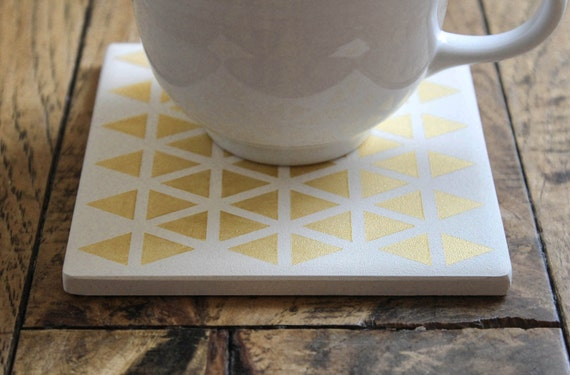 Gold Triangle Coasters Hand Painted Geometric White and Gold Ceramic Tile Coasters (Wedding, Anniversary, Birthday, Bridal Party, Gift)