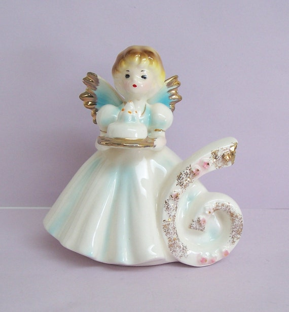 Vintage Josef Originals Birthday 6 Angel Figurine Black Eyes
