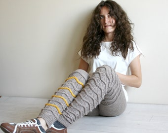 Milky Brown Knitted Stretch Tight  Pants Yellow ZigZag Leggings Legwarmer