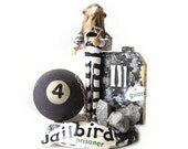 Clothespin Jailbird Art Doll, Paperweight Assemblage, Black, White