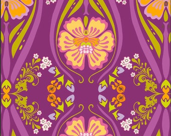 Purple Floral Fabric - Dreaming in French Dark Femme Fatale by Pat Bravo for Art Gallery Fabrics DIF 808 Purple - 1/2 yard