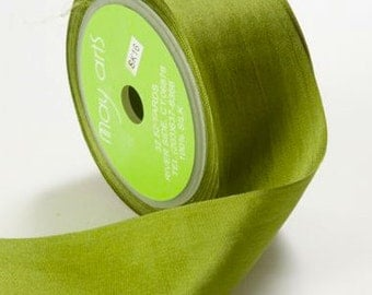 "Olive Silk Ribbon 1-1/4""- wedding, floral, flowers SK16 - Olive Green"