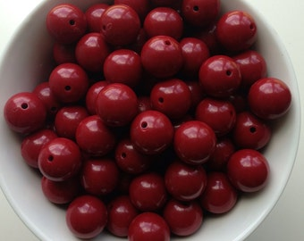 20mm Deep Crimson Red Chunky Necklace Beads
