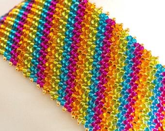 Seed Bead Bracelet - Herringbone Bracelet - Cuff Bracelet - Seed Bead Jewelry - Beadwoven in Orange, Hot Pink, Aqua, Yellow Green - Tropical