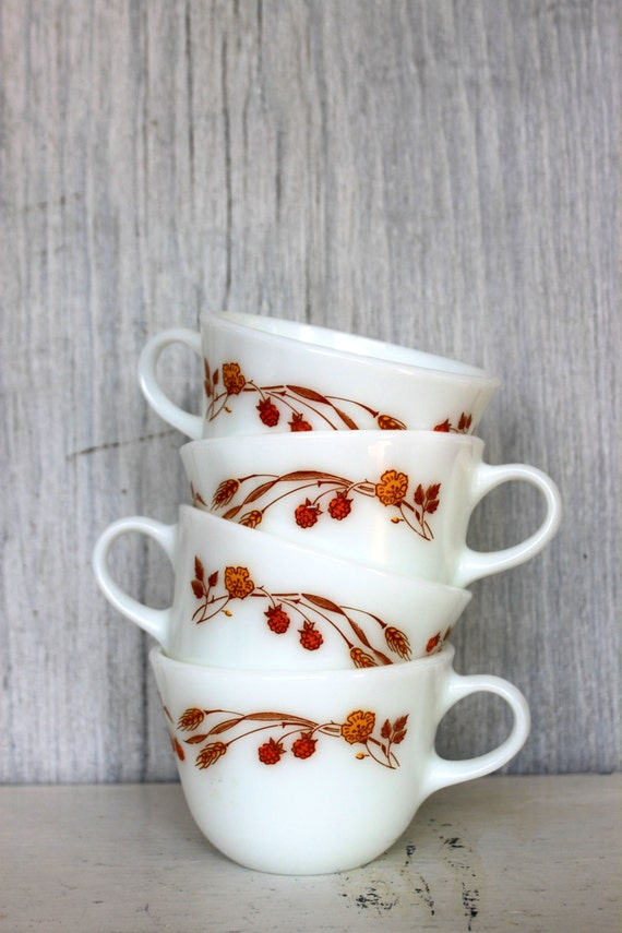 5 five vintage pyrex harvest home cups // set of 5
