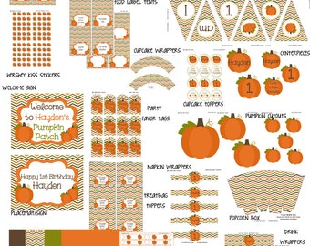 Little Pumpkin Party printables pack in chevron