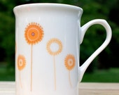 2 Mug Spring Fling Mugs Offer in Purple and Yellow - Floral Modern Minimalistic Fine Bone China Handmade in UK - PostTea
