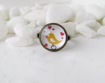 Ring yellow bird . Handmade ring . Love bird , Birds . Nature . Valentine's Day