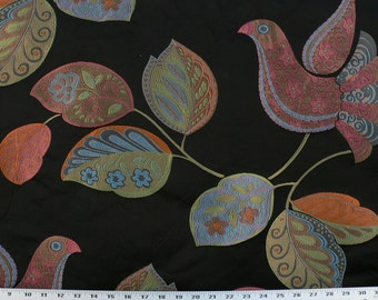 Drapery Fabric, Upholstery Fabric, Black Birds Fabric, Animal Fabric, Tapestry Floral Leaf, Window Treatment Fabric, Fabric By The Yard