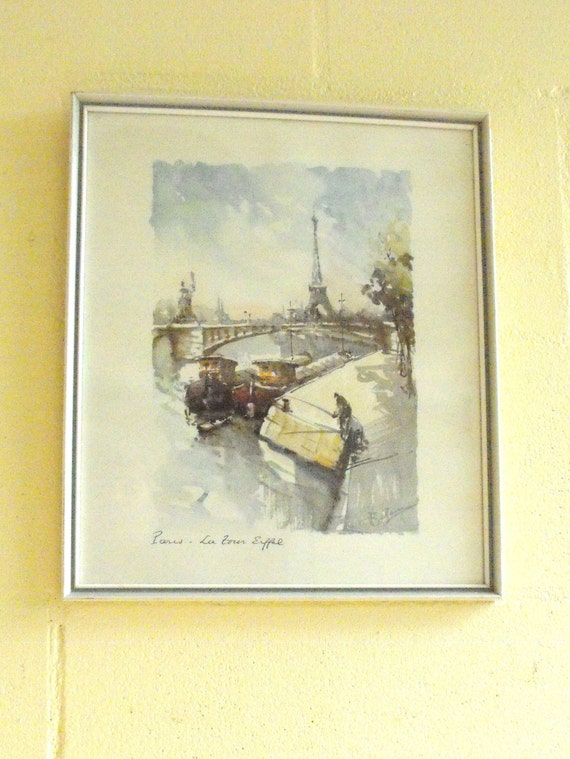 Vintage Watercolor Painting Titled Paris La Tour