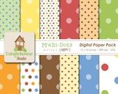Polka Dot Digital Paper Pack | Instant Download | Multi Dots Digital Scrapbooking Basics | Primary Color Dots