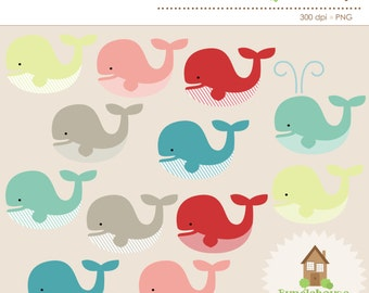 Whale Clipart | Whale Clip Art Graphic Set | Personal and Commercial Use | Digital Scrapbooking