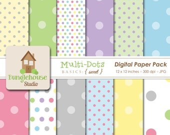 Multi Dot Digital Paper Pack   Digital Scrapbooking Basics   Pastel Polka Dots