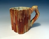 Ceramic mug, peach, white, orange, earth tones, porcelain pottery