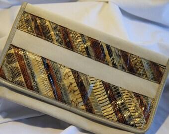 Vintage Beige Clutch Purse by David Mehler for Dame
