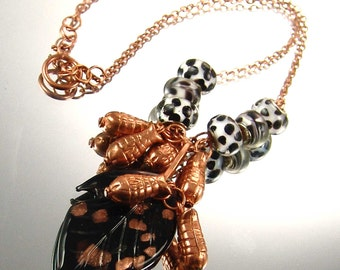 Hand Made Designer Lampwork Glass Leaf Necklace with Copper and European Beads  OOAK by Kay E2214