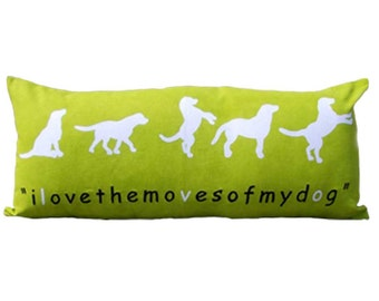 "SALE 50% discount, Bright Green dog pillow,cotton pillow cover, modern pillow case, silhouette print, size 12""X28"""