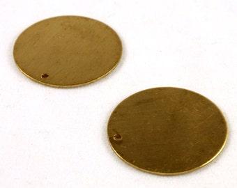 4x Raw Brass Disc Charms - M048