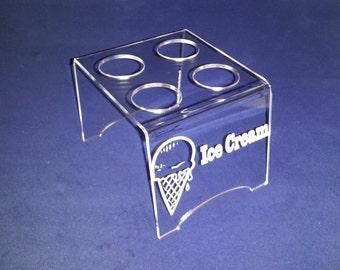Engraved 4 Cone mini Ice Cream Cone Holder for Mini Joy Cones
