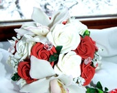 bouquet of polymer clay, boutonniere, white and red roses, orchids