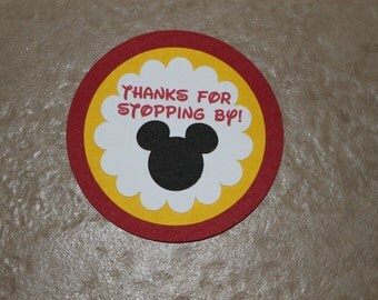 Thank you tags, Mickey Mouse Birthday party, set of 10