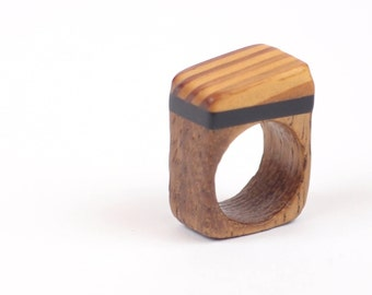 Recycled wooden ring acrylic layers