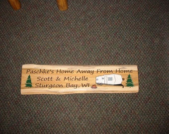 Cedar Slab Personalized Camping Sign