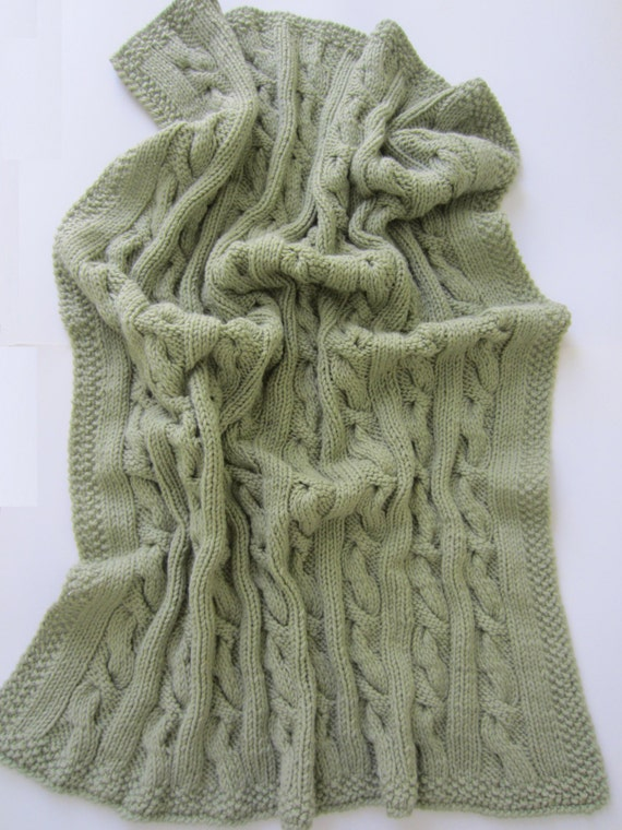 Baby Cot Blanket Knitting Pattern : Hand Knit Baby Blanket Hand Knitted Baby Blanket Green Knit