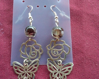 Earrings, Butterfly rose and lampwork glass dangle earrings