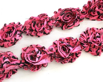 Petite Shabby Flower Trim--Hot Pink Damask with Glitter