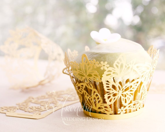 Dancing Butterfly Silhouette Wedding Cupcake Wrapper