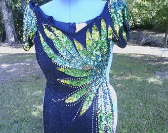 Alyce Designs Black/ Multi Fully Beaded Formal  Gatsby like Dress