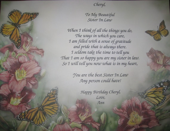 Sister In Law Poems: Items Similar To Personalized Gift For Special Sister In