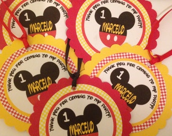 Mickey Mouse Party Tags, Favor Tags, 12 Ready-to-Ship