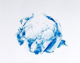 Blauwdruk oftewel cyanotype bloemkool.