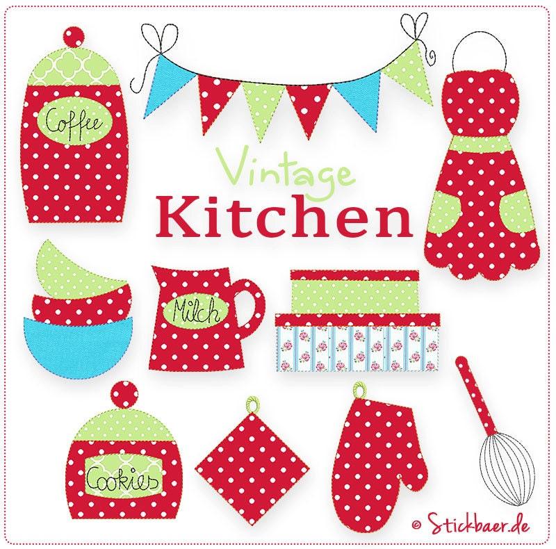 vintage kitchen 5x7 machine embroidery designs