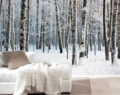 Birch tree in snow mural, repositionable peel & stick wall paper, wall covering