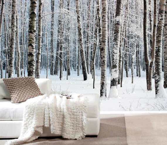 bouleau arbre en neige murale repositionnable peler et coller. Black Bedroom Furniture Sets. Home Design Ideas