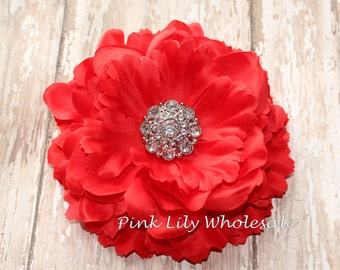 """5"""" Ruffled Peony Flower - RED - Center Stone Sold SEPARATELY - Large Flower - Wholesale - Peony - Beautiful Flower - Craft Flower"""