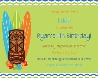 Luau Tiki Birthday Invitation