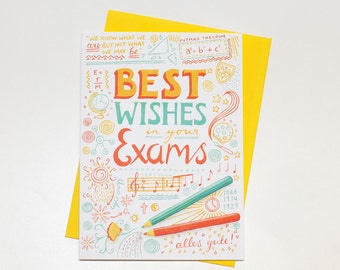 A bright and encouraging 'Best Wishes in your Exams' card.