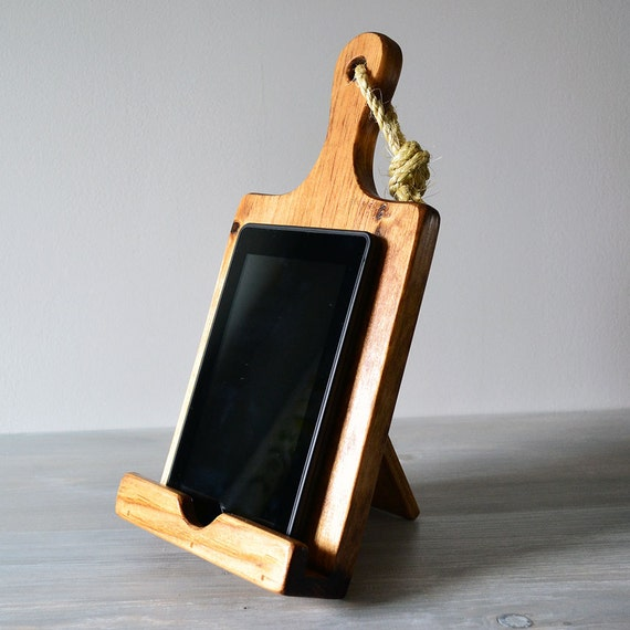 Ipad Mini Or Kindle Stand Rustic Wood Cutting Board By Roostic