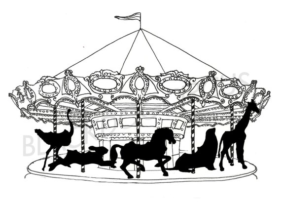Carousel Black And White Print From An Original Drawing Fine Art