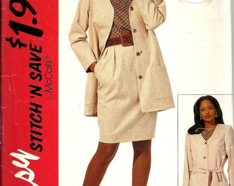 """McCalls 7210   EASY """"Stitch and Save""""  Misses Jacket, Skirt, Top and Sash, Size 10-16 UNCUT"""