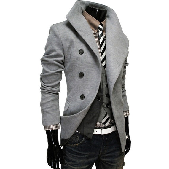 Mens Slim Fit Double Breasted Trench Casual Peacoat Military Jacket Overcoat