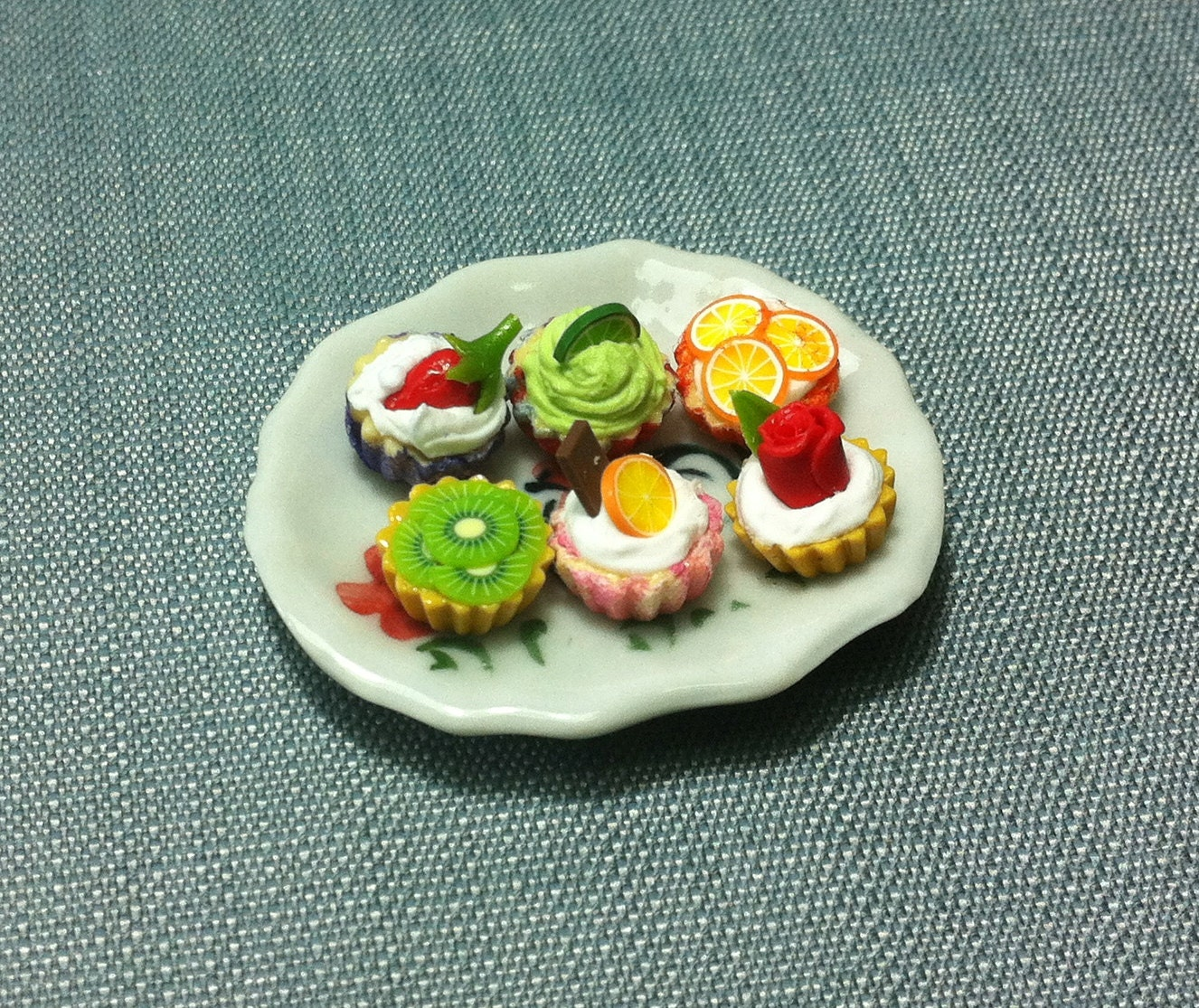 Dessert Set Miniature Clay Polymer 6 Fruits Cupcakes Cake